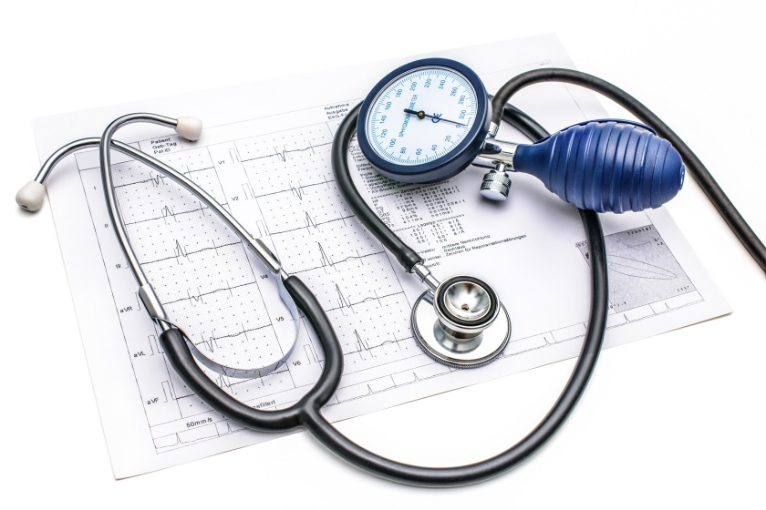Medical tools lying on ECG