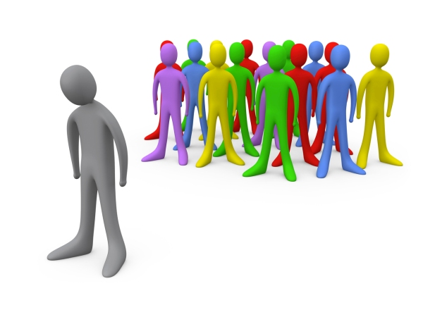 Sad Gray Person Standing Alone Near A Crowd Of Different Colored